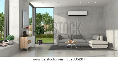 Miniimalist Living Room With Concrete Walls, Modern Sofa,sideboard And Air Conditioner