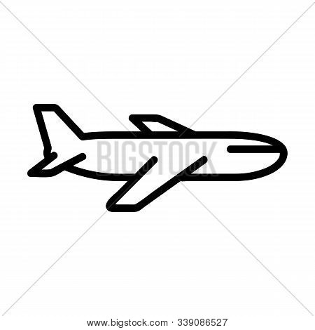 Plane Icon Vector. A Thin Line Sign. Isolated Contour Symbol Illustration