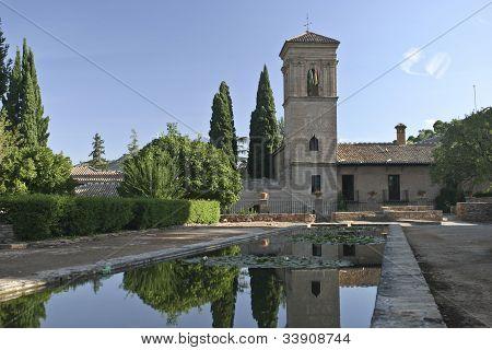 calm pond in Granada fortress, Spain
