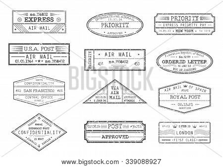 Airmail Postage And Post Office Stamps With City And Date, Vector Icons. Express Delivery, Ordered L