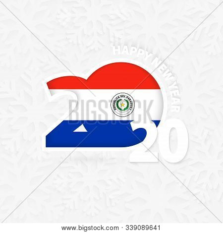Happy New Year 2020 For Paraguay On Snowflake Background. Greeting Paraguay With New 2020 Year.