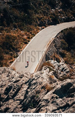 Mallorca. Spain.. The Panoramic View On Road For Cyclist. Famous Hill, Favorite Place For Road Cycli