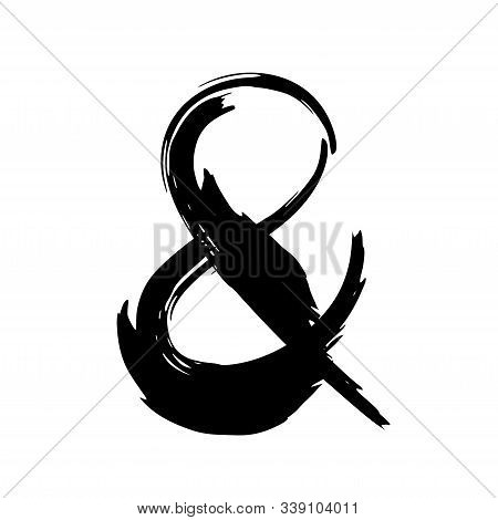 Hand Painted Balck Ink Ampersand Symbol Isolated On White