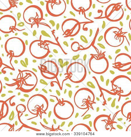 Line Art Hand Drawn Tomato Pattern On White Background. Veggie, Healthy Eating. Yummy Design For Res