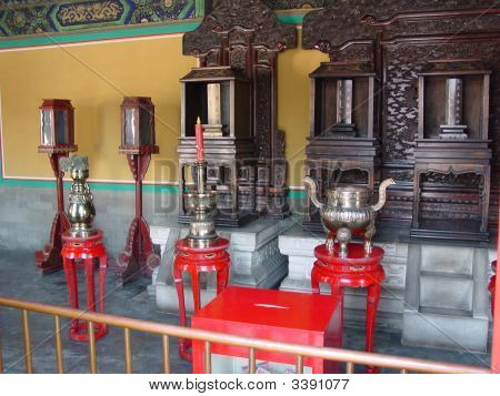 China Temple Of Heaven Red Candle And Urn On Small Tables