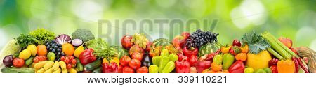 Panorama multicolored fresh fruits and vegetables on green natural background.