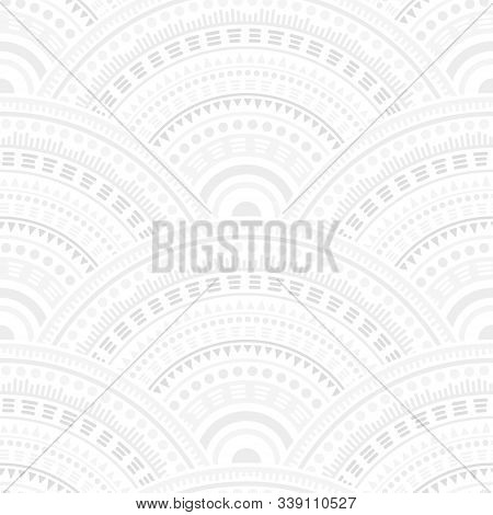 Mexican Overlapping Circles Tile Design Vector Seamless Pattern. Oriental Motifs Abstract Repeating