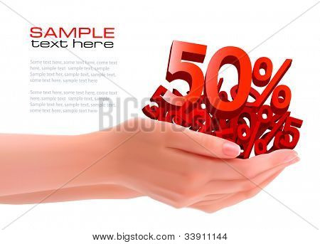 Concept of discount. Hands holding sales. Vector.