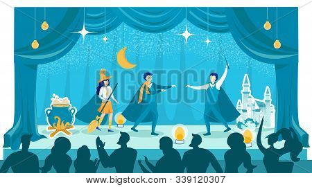 Halloween Theatrical Kids Performance For Parents. Children Wearing Festive Costumes Performing On S