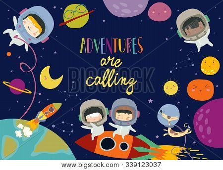 Cute Frame Composed Of Girls Ans Boys Astronauts Riding A Rocket