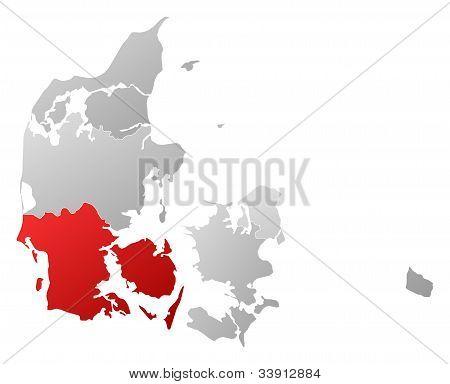 Map Of Danmark, South Denmark Highlighted