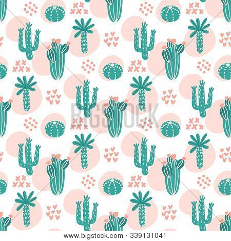 Tropical Seamess Pattern With Different Types Of Cacti. Сreative Print For Apparel, Nursery Decorati