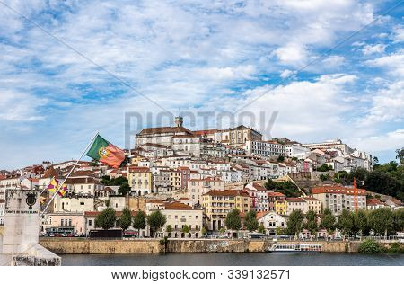 Coimbra, Portugal - 19 August 2019: University Of Coimbra On Hilltop Above The City From Santa Clara
