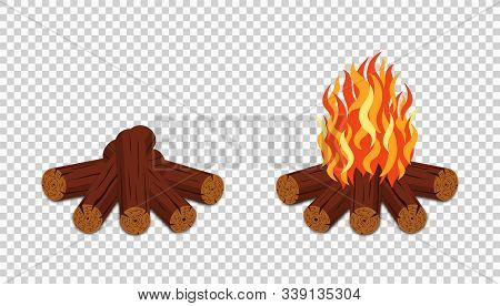Campfire Isolated On Transparent Background. Burning Bonfire With Wood And Flame. Campfire In Cartoo