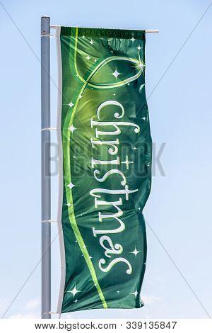 Melbourne, Australia - November 16, 2009: Closeup Of Green Star-spangled Christmas Themed Banner Wit