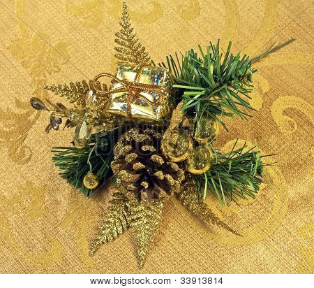 Christmas Greenery On Gold Textile