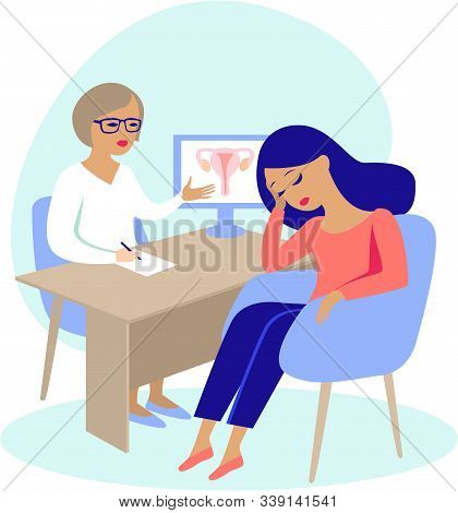 Young Woman Patient Having Consultation With Gynecologist About Infertility Problems