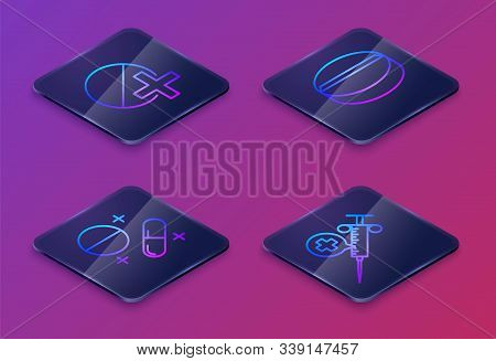 Set Isometric Line Medicine Pill Or Tablet, Medicine Pill Or Tablet, Medicine Pill Or Tablet And Med