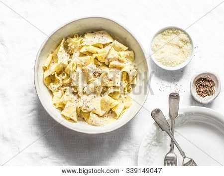 Fresh Pappardelle With Walnuts Mascarpone Cheese Cream Sauce. Delicious Lunch In Mediterranean Style