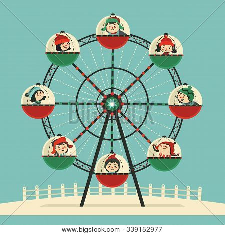 Happy Kids Ride On Ferris Wheel Flat Color Vector Icon. Cute Children, Amusement Park Ferris Wheel C