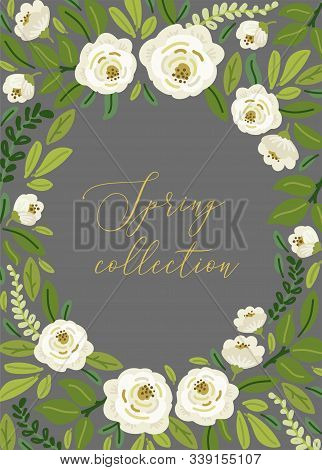 Cute Spring Collection Floral Background With Bouquets Of Hand Drawn Rustic White Roses Flowers And