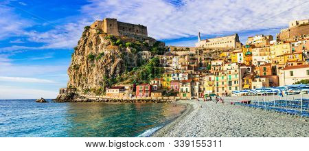 Travel in Calabria, Scilla medieval town with beautiful  beach. South of Italy