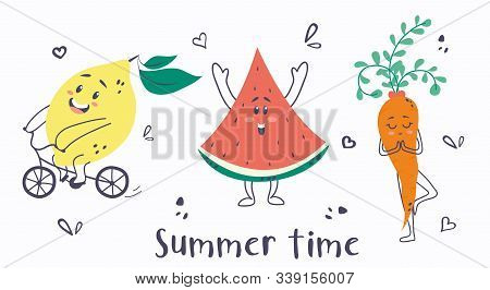 Summer Time Cute Card With Lemon, Watermelon And Carrot