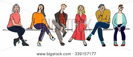 Young People Sitting On A Bench Vector Illustration. Audience Concept. Waiting Concept. On A Lesson,