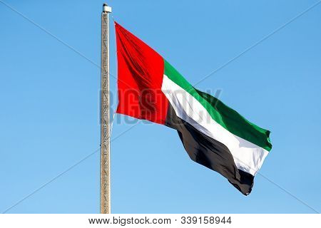 Uae Flag Waving In The Sky, National Symbol Of Uae
