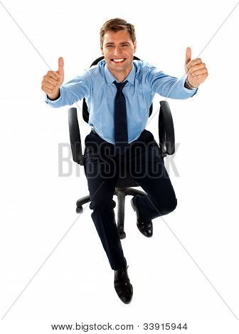 Male Executive Showing Double Thumbs Up