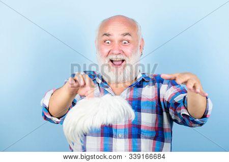 Elderly People. Bearded Grandfather Grey Hair. Hair Loss. Early Signs Balding. Man Losing Hair. Arti