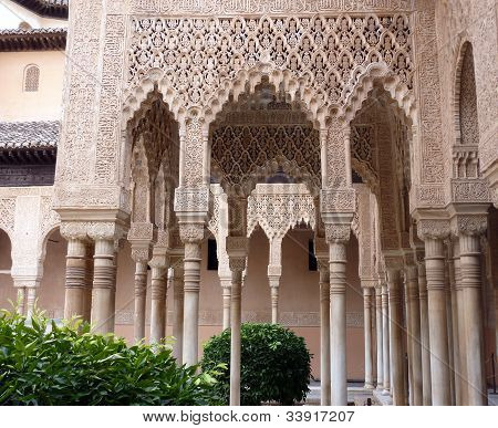 Decorated arches and columns in the Alhambra