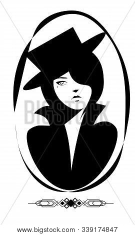Vector Portrait Of Vintage Pretty Woman In The Hat With Cocky Face