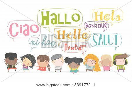 Group Of Cartoon Kids Talking In Different Languages