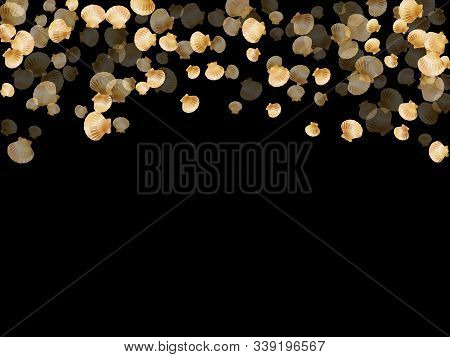 Gold Seashells Vector, Golden Pearl Bivalved Mollusks. Aquarium Scallop, Bivalve Pearl Shell, Marine