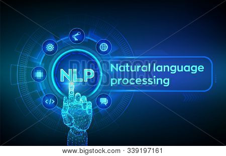 Nlp. Natural Language Processing Cognitive Computing Technology Concept On Virtual Screen. Natural L