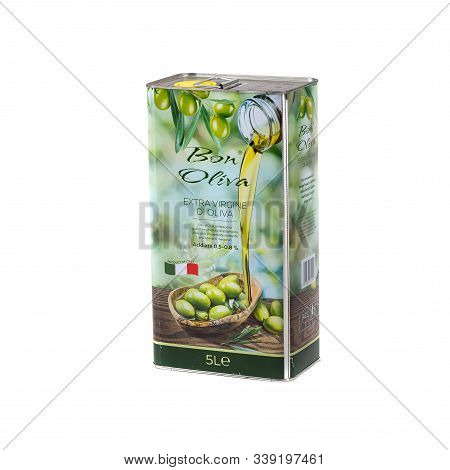 Olive Oil Can With Label On White Background. Logo Olive Oil Extra Virgin Metal Can. Olive Oil Can F