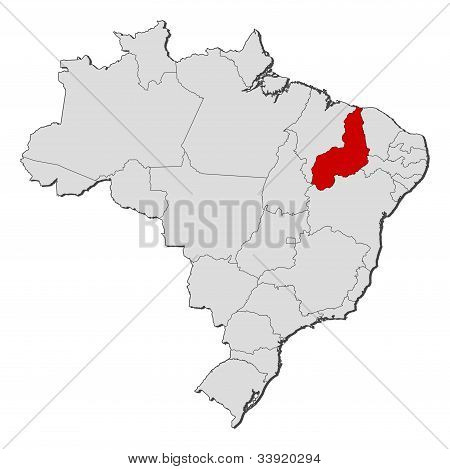 Map Of Brazil, Piauí Highlighted