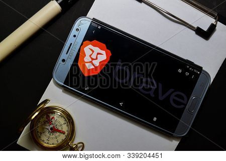 Bekasi, West Java, Indonesia. December 13, 2019 : Brave Browser: Fast Adblocker Dev App On Smartphon