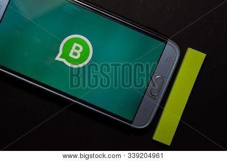 Bekasi, West Java, Indonesia. December 13, 2019 : Whatsapp Business Dev App On Smartphone Screen. Wh