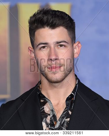 LOS ANGELES - DEC 09:  Nick Jonas arrives for the ÔJumanji: The Next LevelÕ Los Angeles Premiere on December 09, 2019 in Hollywood, CA