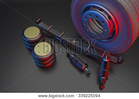 Many New Auto Parts For Commercial Transport Truck. Spare Parts For Suspension Truck. Truck Parts Ai