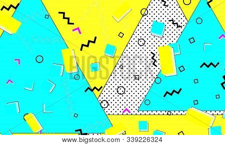 Aqua Elements. Retro Fashion. Pop Art Poster. Fun Artwork. Flat Baby Blue Cover. Lemon Gradient Illu