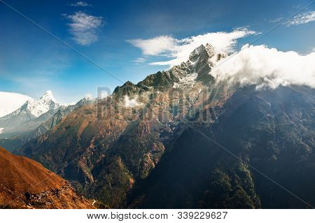 View Of Mount Thamserku And Mount Ama Dablam In Himalaya Mountains. Khumbu Valley, Everest Region, N