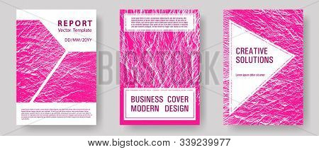 Catalog Cover Vector Templates. Plastic Pink Color Waves Textures. Corporate Finance Book Cover. Buz