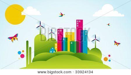 Green City Spring Time Concept Illustration