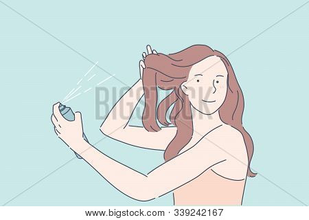 Making Hairdo, Hair Volume, Beauty Procedure Concept. Young Lady Using Hair Spray. Pretty Woman, Mod