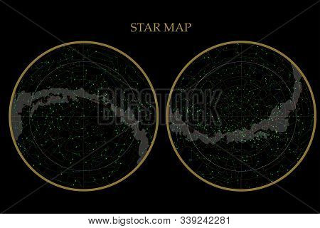 True Constellations Of The Southern Hemisphere And Northern Hemisphere, Star Map. Science Astronomy,