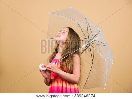 Invisible Protection. Fall Season. Enjoy Rain Concept. Love Rainy Days. Kid Girl Happy Hold Transpar