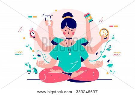 Young Smiling Woman Multi-tasking Using Modern Device And Time. Happy Relaxing Girl Character Engage